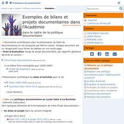 Exemples de bilans et projets documentaires dans l'Académie- Les Enseignants Documentalistes de l'Académie de Poitiers