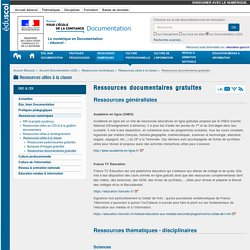 Ressources documentaires gratuites — Documentation (CDI)