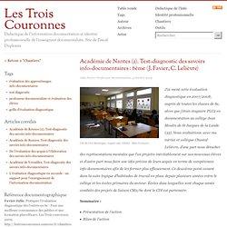 Académie de Nantes (2). Test-diagnostic des savoirs info-documentaires : 6ème (J. Favier, C. Lelièvre)
