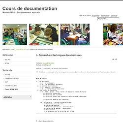 I - Démarche et techniques documentaires - Cours de documentation