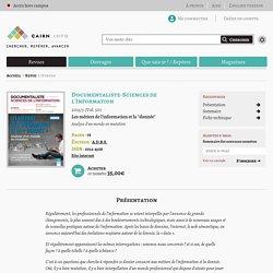 Revue Documentaliste-Sciences de l'Information 2013/3