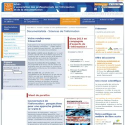 Documentaliste - Sciences de l'information