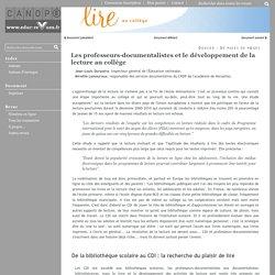 Les professeurs-documentalistes et le développement de la lecture au collège