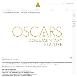 15 DOCUMENTARY FEATURES ADVANCE IN 2015 OSCAR® RACE