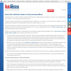 How to Do a Reaction Paper of a Documentary Movie - LinkCentre News