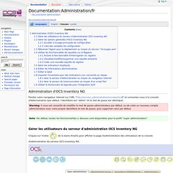 Documentation:Administration/fr - OCS Inventory NG