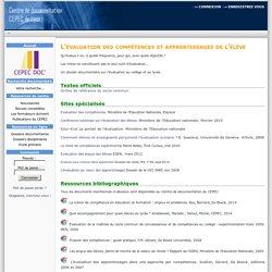 Cepec Documentation-L'évaluation des compétences et apprentissages de l'élève