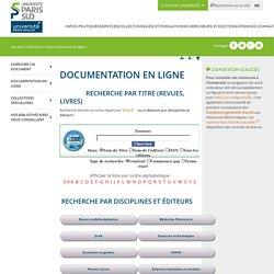 Documentation en ligne - Bibliothèques de l'Université Paris-Sud