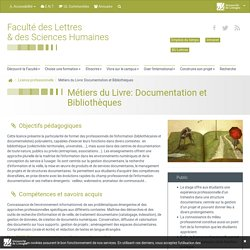 Métiers du Livre: Documentation et Bibliothèques - Faculté des Lettres & des Sciences Humaines