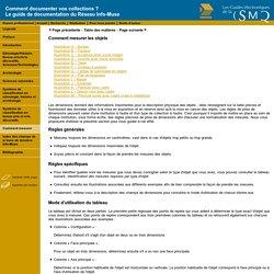 SMQ - Le guide de documentation du Réseau Info-Muse - Comment mesurer les objets