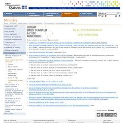 Documentation et cadre légal - Forum Droit d'auteur à l'ère numérique - Ministère de la Culture et des Communications