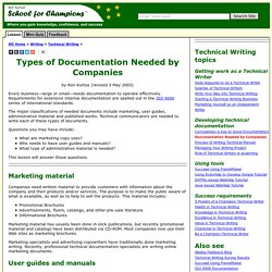 Types of Documentation Needed by Companies by Ron Kurtus - Succeed in Technical Writing: School for Champions