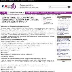 Compte-rendu de la journée de réunion du 21 juin 2011 (GRAP, Pôle de compétences, groupe LP)