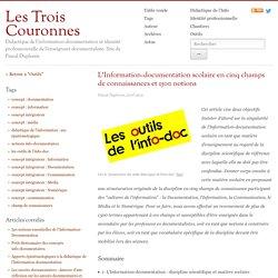 L'Information-documentation scolaire en cinq champs de connaissances et 1500 notions