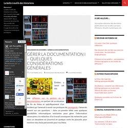 Gérer la documentation I - Quelques considérations générales