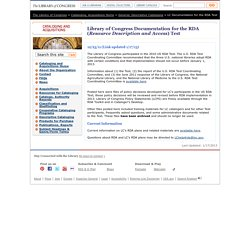 Library of Congress Documentation for the RDA (Resource Description and Access) Test