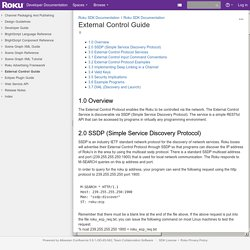 External Control Guide - Roku SDK Documentation - Developer Documentation