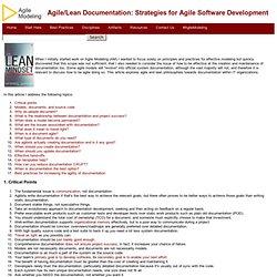 Agile/Lean Documentation: Strategies for Agile Software Development