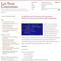 La didactique de l'information-documentation : Émergence et perspectives d'une matière disciplinaire