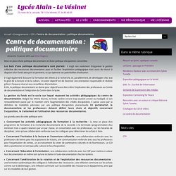 Centre de documentation : politique documentaire - Lycée Alain - Le Vésinet