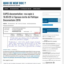 CAPES documentation : copie à 16.85/20 en Politique Documentaire