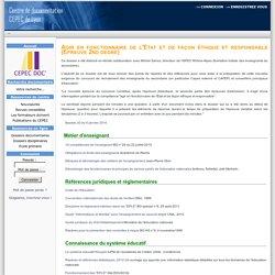 Cepec Documentation-Agir en fonctionnaire de l'Etat et de façon éthique et responsable