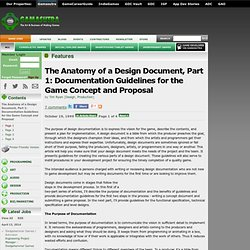 Features - The Anatomy of a Design Document, Part 1: Documentation Guidelines for the Game Concept and Proposal