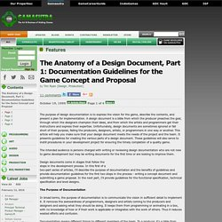 The Anatomy of a Design Document, Part 1: Documentation Guidelines for the Game Concept and Proposal