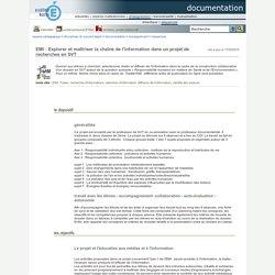 documentation - EMI : Explorer et maîtriser la chaîne de l'information dans un projet de recherches en SVT