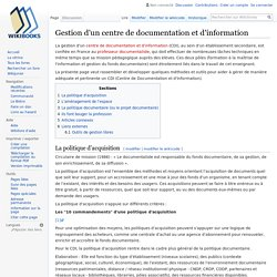 Gestion d'un centre de documentation et d'information