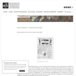 Bibliothèque de documentation internationale contemporaine - Les journaux de tranchées
