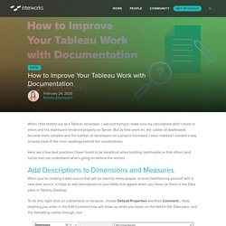 How to Improve Your Tableau Work with Documentation