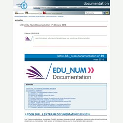 documentation - lettre Édu_Num Documentation n° 49 mars 2016