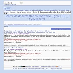Centre de documentation libertaire (Lyon, CDL_) : Cgécaf 0371 - Cgecaf