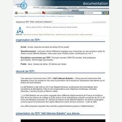 """documentation - séquence Babelio : EPI """"Défi Littéraire Babelio"""" : s'engager dans le défi par son projet de lecteur-lectrice"""