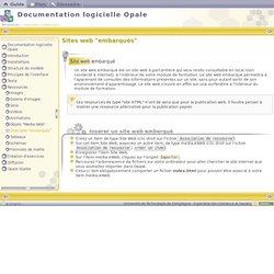 """Documentation logicielle Opale - Sites web """"embarqués"""""""