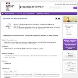 """Séquence pédagogique """"Info/Infox : les sites parodiques"""""""