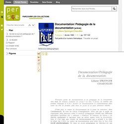 Documentation/ Pédagogie de la documentation [article] Liliane Sprenger-Charolles