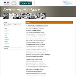 « Strophes pour se souvenir » de Louis Aragon-Poètes en résistance-Centre National de Documentation Pédagogique