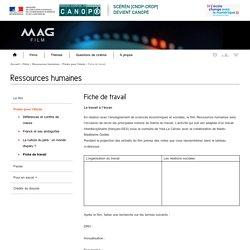 Fiche de travail -Ressources humaines-Mag Film-Centre National de Documentation Pédagogique