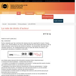 : Documentation : Fiches pratiques : LES ARTISTES : La note de droits d'auteur