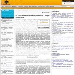 : Documentation : Fiches pratiques : LES PRODUCTEURS : Le choix d'une structure de production : disque et spectacle