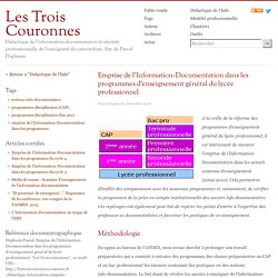 Emprise de l'Information-Documentation dans les programmes d'enseignement général du lycée professionnel
