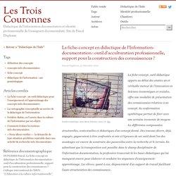La fiche-concept en didactique de l'Information-documentation : outil d'acculturation professionnelle, support pour la construction des connaissances ?