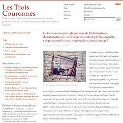 La fiche-concept en didactique de l?Information-documentation | Les Tr