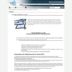 """documentation - un projet """"tablettes"""" au CDI"""