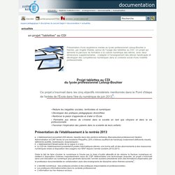 "documentation - un projet ""tablettes"" au CDI"