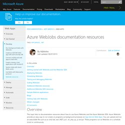 Azure WebJobs documentation resources
