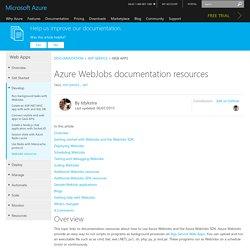 Azure WebJobs documentation resources