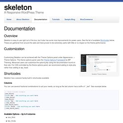Skeleton WordPress Theme Documetation